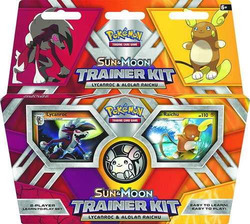 Pokemon Trading Card Game Sun & Moon Alolan Raichu & Lycanroc Trainer Kit [2x 30-Card Starter Decks, Playmat, Coin & More]