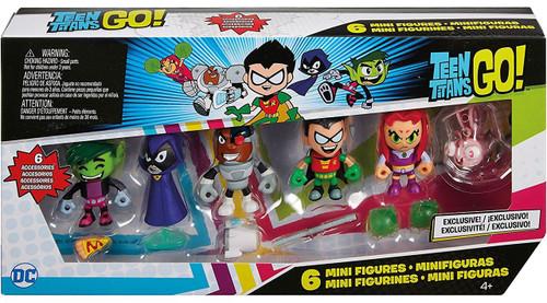 Teen Titans Go! Beast Boy, Raven, Cyborg, Robin, Starfire & Silkie Mini Figure 6-Pack