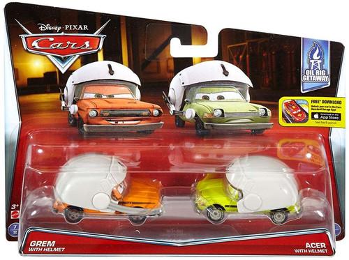 Disney / Pixar Cars Oil Rig Getaway Grem with Helmet & Acer with Helmet Diecast Car 2-Pack #7/8 & 8/8