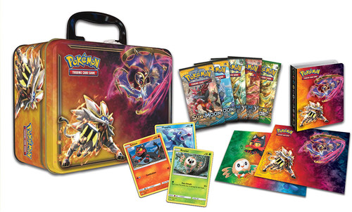 Pokemon Trading Card Game 2017 Collector's Chest Solgaleo & Lunala Tin Set [5 Booster Packs, 3 Promo Cards, Mini Portfolio, Coin & More]