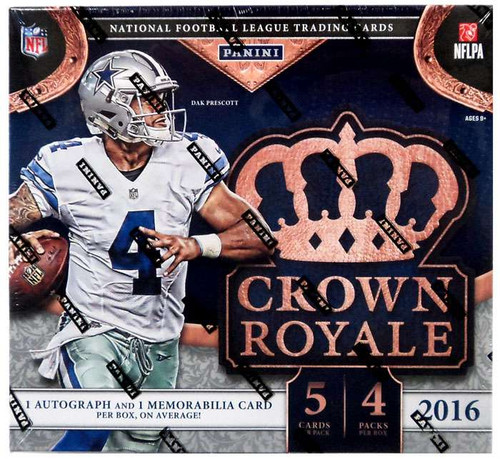 NFL Panini 2016 Crown Royale Football Trading Card RETAIL Box [4 Packs, 1 Autograph AND 1 Memorabilia Card!]