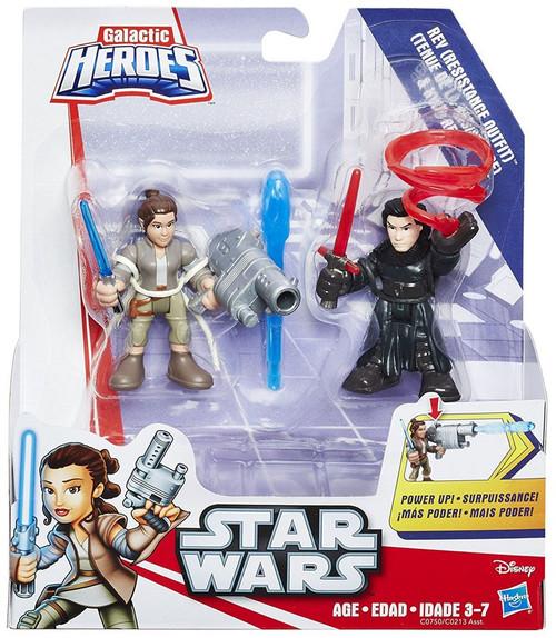 Star Wars Galactic Heroes Rey (Resistance Outfit) & Kylo Ren Mini Figure 2-Pack