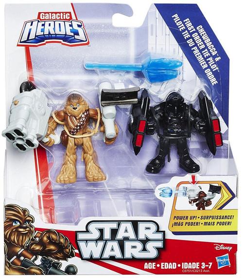Star Wars Galactic Heroes Chewbacca & First Order Tie pilot Mini Figure 2-Pack