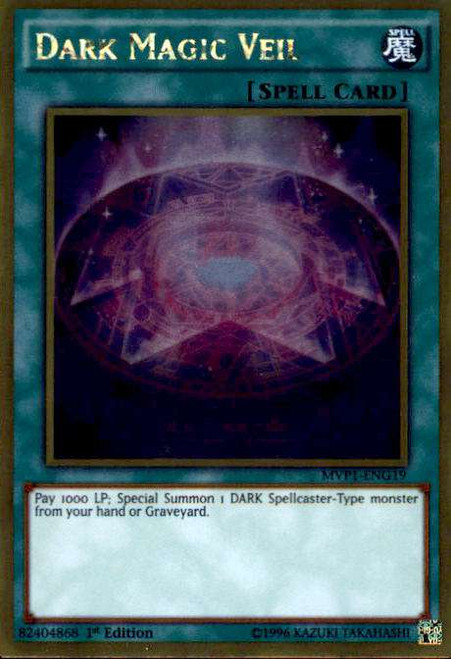 YuGiOh Dark Side of Dimensions Gold Edition Gold Rare Dark Magic Veil MVP1-ENG19