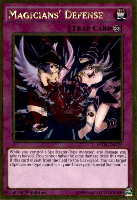 YuGiOh Dark Side of Dimensions Gold Edition Gold Rare Magicians' Defense MVP1-ENG28