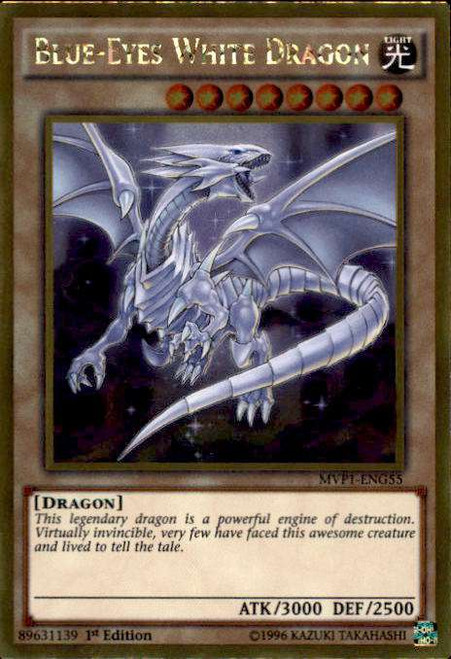 YuGiOh Dark Side of Dimensions Gold Edition Gold Rare Blue-Eyes White Dragon MVP1-ENG55