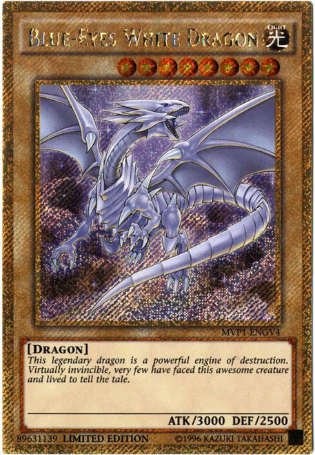 YuGiOh Dark Side of Dimensions Gold Edition Gold Secret Rare Blue-Eyes White Dragon MVP1-ENGV4