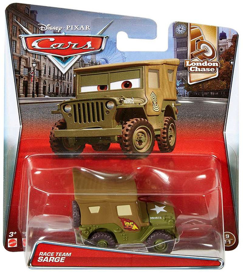 Disney / Pixar Cars London Chase Race Team Sarge Diecast Car #9/11