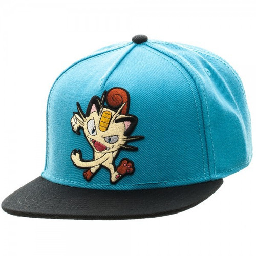 Pokemon Meowth Color Block Snapback Cap Apparel