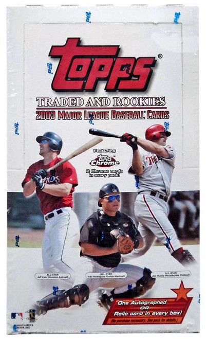 MLB Topps 2003 Traded & Rookies Baseball Trading Card HOBBY Box [24 Packs, 1 Autograph OR Relic Card]