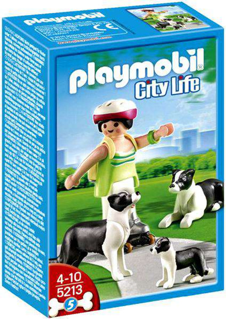 Playmobil City Life Border Collies with Puppy Set #5213 [Damaged Package]