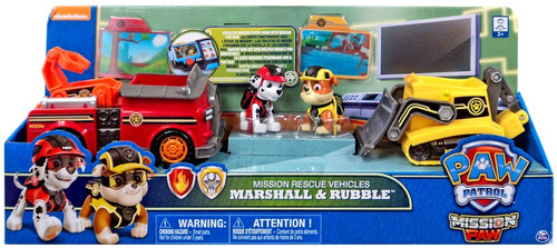 Paw Patrol Mission Paw Mission Rescue Marshall & Rubble Exclusive Vehicle & Figure Set