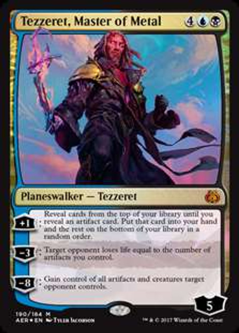 MtG Aether Revolt Mythic Rare Foil Tezzeret, Master of Metal #190