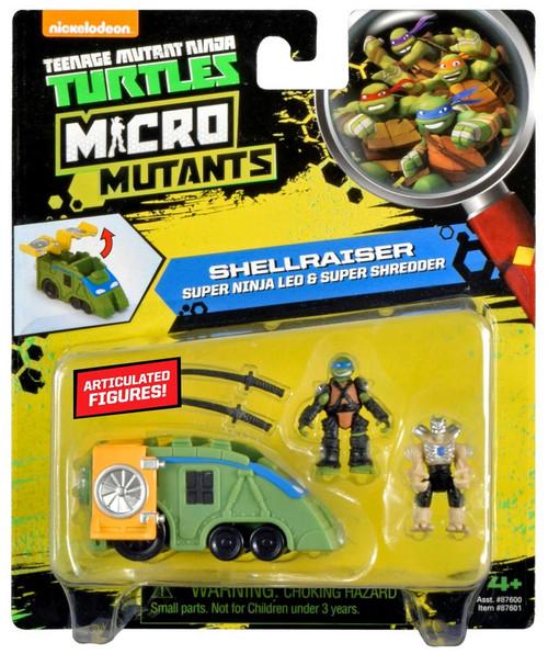 Teenage Mutant Ninja Turtles Nickelodeon Micro Mutants Shellraiser Super Ninja Leo & Super Shredder Mini Figure Set
