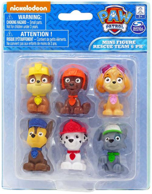 Paw Patrol Chase, Marshall, Rocky, Skye, Zuma & Rubble Mini Figure 6-Pack
