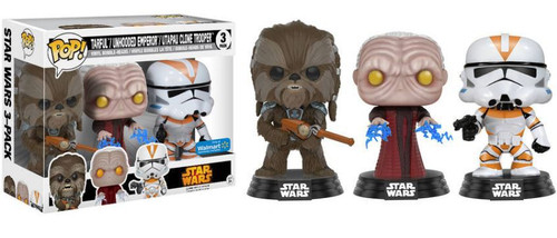 Funko POP! Star Wars Tarfful, Unhooded Emperor Palpatine & Utapau Clone Trooper Exclusive Vinyl Bobble Head 3 Pack