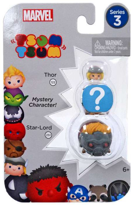Marvel Tsum Tsum Series 3 Thor & Star-Lord 1-Inch Minifigure 3-Pack #122 & 251
