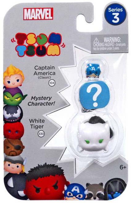 Marvel Tsum Tsum Series 3 Captain America & White Tiger 1-Inch Minifigure 3-Pack #104 & 330