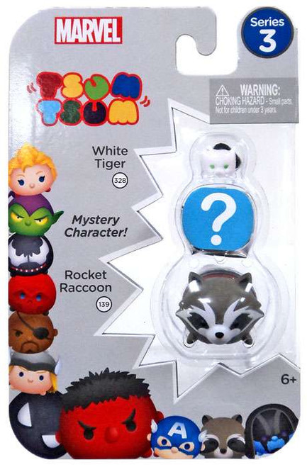 Marvel Tsum Tsum Series 3 White Tiger & Rocket Raccoon 1-Inch Minifigure 3-Pack #328 & 139
