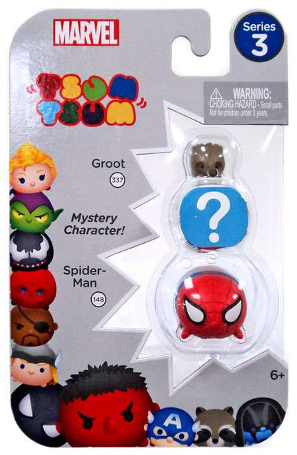 Marvel Tsum Tsum Series 3 Groot & Spider-Man 1-Inch Minifigure 3-Pack #337 & 148