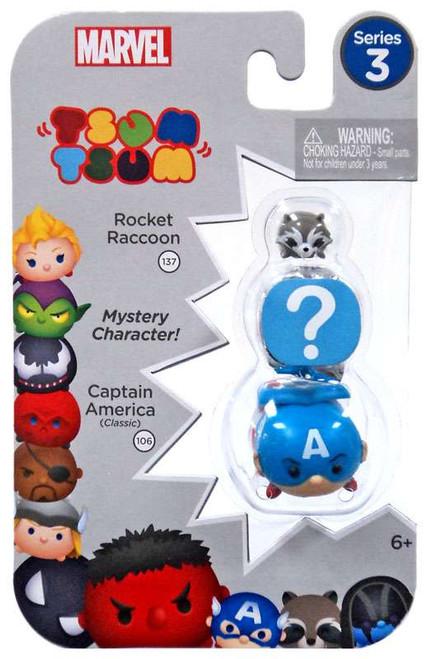 Marvel Tsum Tsum Series 3 Rocket Raccoon & Captain America 1-Inch Minifigure 3-Pack #137 & 106