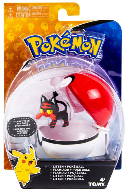Pokemon Clip n Carry Pokeball Litten & Poke Ball Figure Set