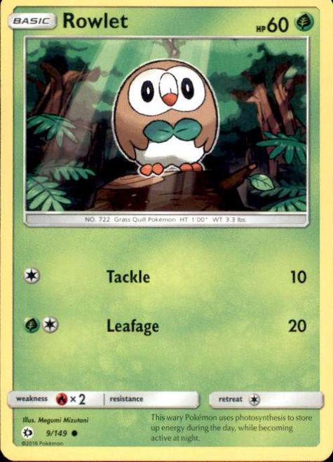 Pokemon Sun & Moon Base Set Common Rowlet #9