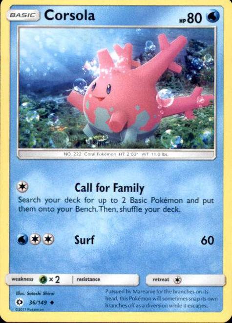 Pokemon Sun & Moon Base Set Uncommon Corsola #36