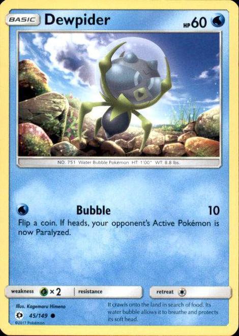 Pokemon Sun & Moon Base Set Common Dewpider #45