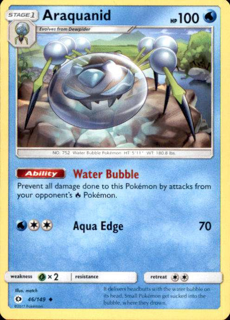 Pokemon Sun & Moon Base Set Uncommon Araquanid #46