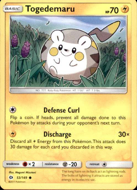 Pokemon Sun & Moon Base Set Common Togedemaru #53