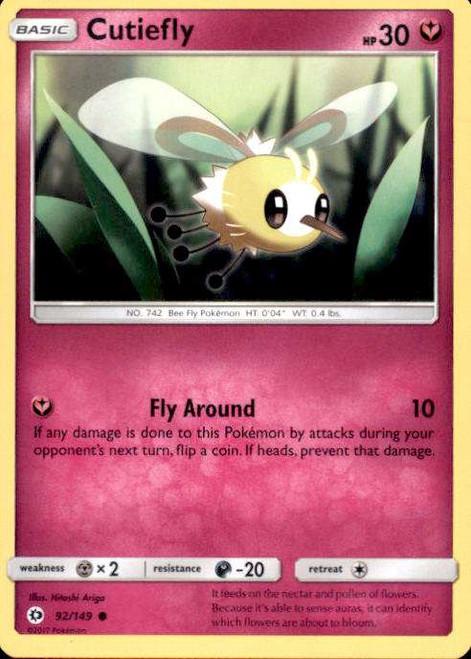 Pokemon Sun & Moon Base Set Common Cutiefly #92