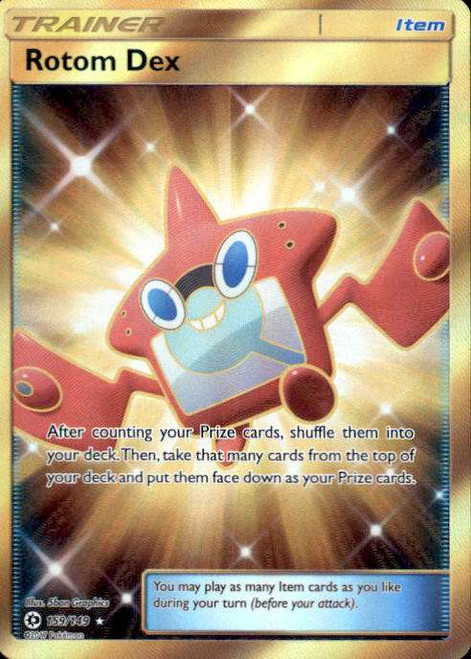 Pokemon Sun & Moon Base Set Secret Rare Rotom Dex #159