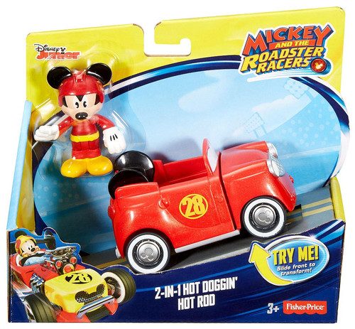 Fisher Price Disney Mickey & Roadster Racers 2-in-1 Hot Doggin' Hot Rod? Vehicle & Figure