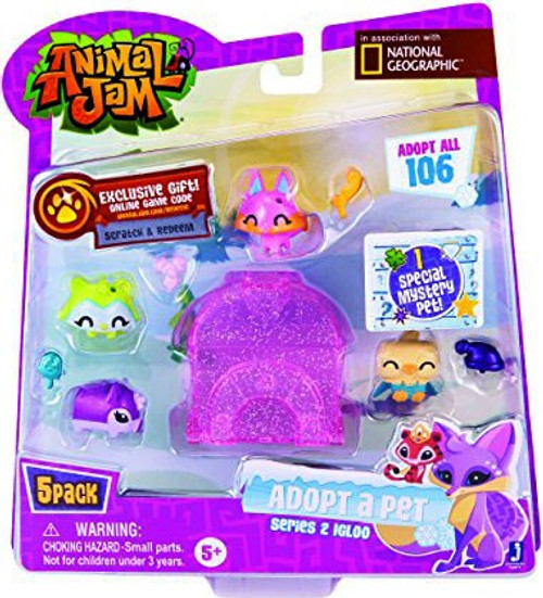 Animal Jam Adopt A Pet Series 2 Pink Igloo Mini Figure 5-Pack
