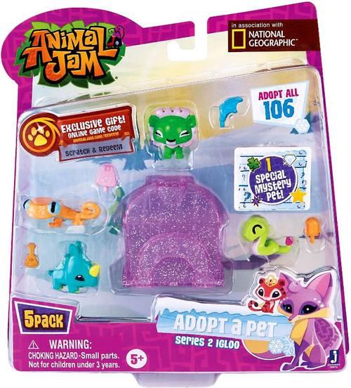 Animal Jam Adopt A Pet Series 2 Purple Igloo Mini Figure 5-Pack