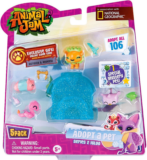Animal Jam Adopt A Pet Series 2 Blue Igloo Mini Figure 5-Pack