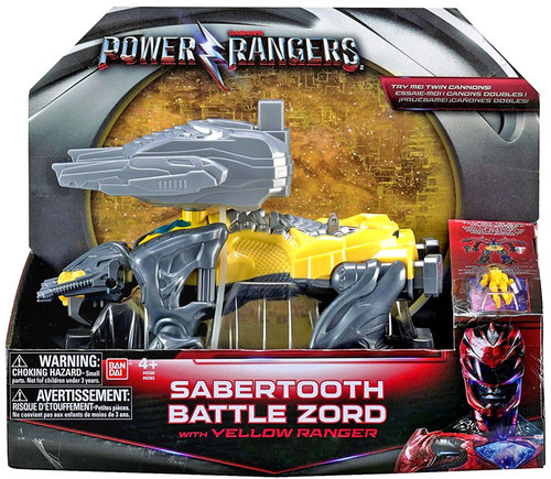 Power Rangers Movie Sabertooth Battle Zord with Yellow Ranger Action Figure