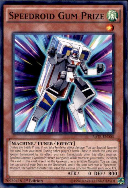 YuGiOh Raging Tempest Common Speedroid Gum Prize RATE-EN005