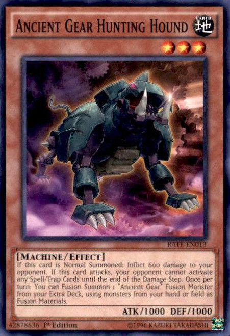 YuGiOh Raging Tempest Common Ancient Gear Hunting Hound RATE-EN013