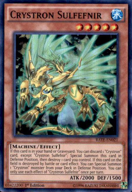 YuGiOh Raging Tempest Super Rare Crystron Sulfefnir RATE-EN021