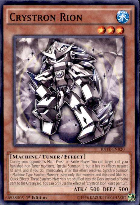 YuGiOh Raging Tempest Common Crystron Rion RATE-EN020