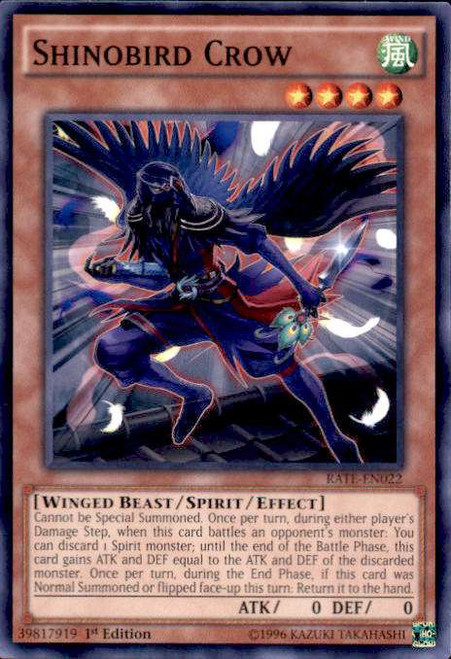 YuGiOh Raging Tempest Common Shinobird Crow RATE-EN022