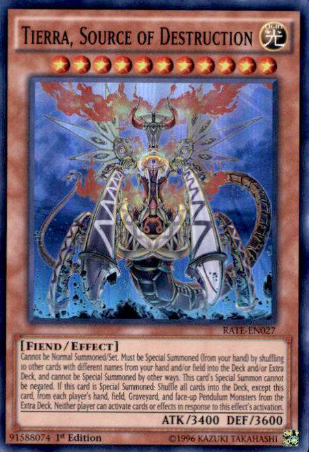 YuGiOh Raging Tempest Super Rare Tierra, Source of Destruction RATE-EN027