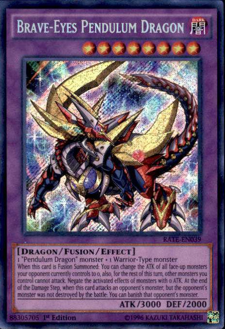 YuGiOh Raging Tempest Secret Rare Brave-Eyes Pendulum Dragon RATE-EN039
