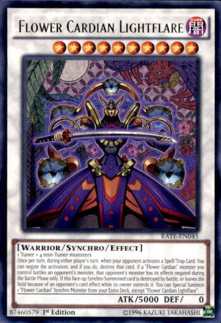 YuGiOh Raging Tempest Rare Flower Cardian Lightflare RATE-EN045