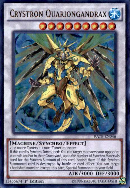 YuGiOh Raging Tempest Ultra Rare Crystron Quariongandrax RATE-EN046