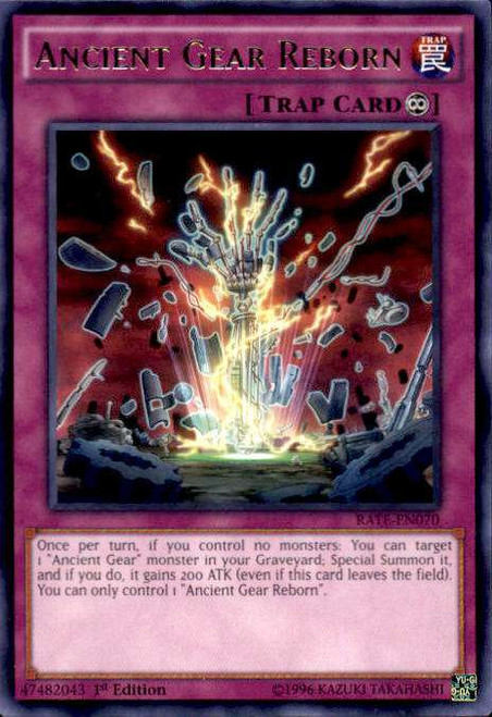 YuGiOh Raging Tempest Rare Ancient Gear Reborn RATE-EN070