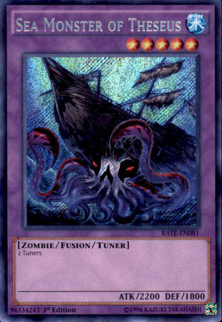 YuGiOh Raging Tempest Secret Rare Sea Monster of Theseus RATE-EN081