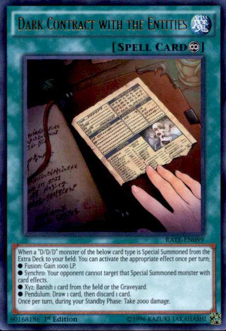 YuGiOh Raging Tempest Ultra Rare Dark Contract with the Entities RATE-EN099